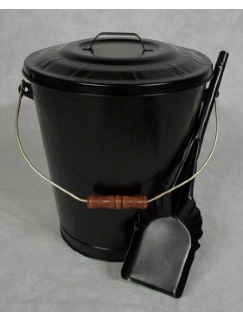 Fireplace Hearth Ash Coal Hod Bin Bucket Carrier, Lid, & Shovel Set