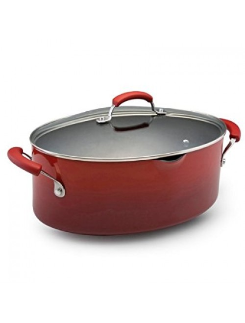 Rachael Ray Porcelain Nonstick 8-Quart Covered Oval Pasta Pot