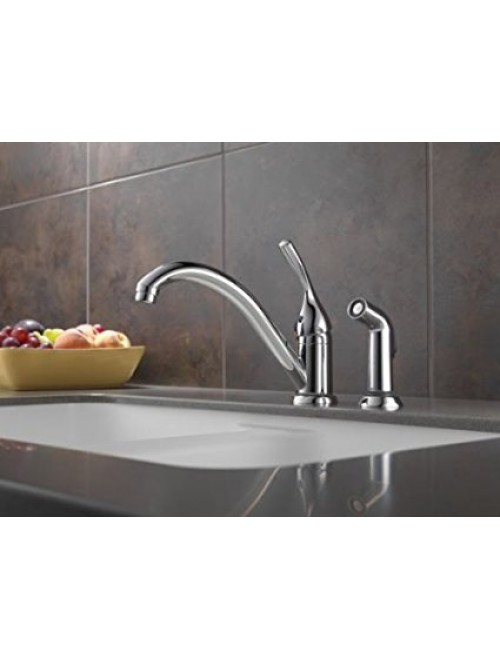 Delta 175-DST Single Handle Kitchen Faucet with Spray, Chrome
