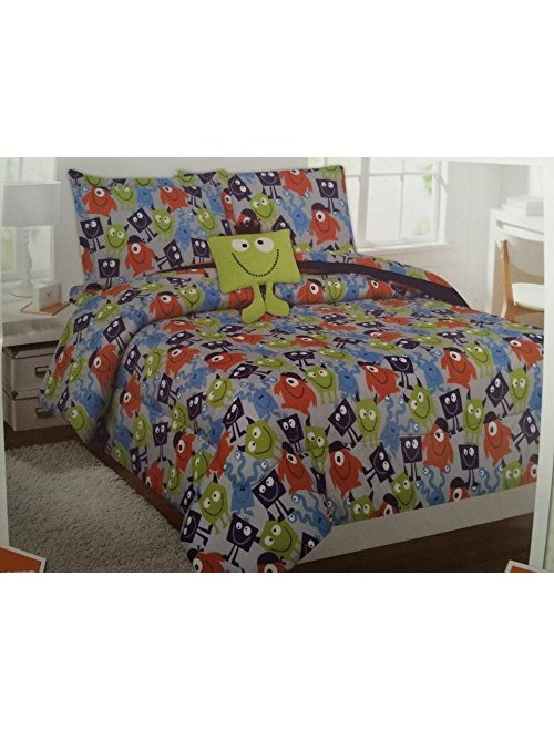 6 Piece Twin Alien Monster Comforter and Sheet Set Bed