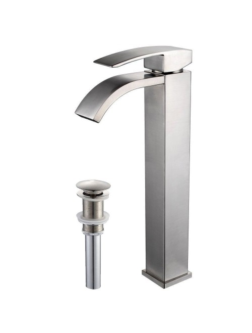 Wovier Brushed Nickel Waterfall Bathroom Sink Faucet