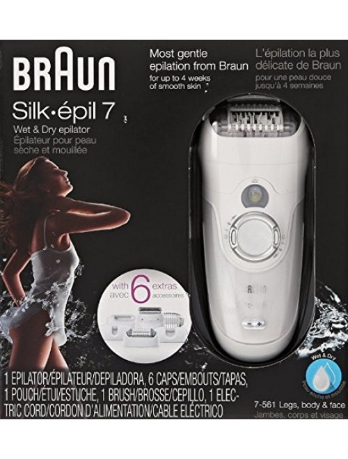 Braun Silk-épil 7 7-561 - Wet & Dry Cordless Electric Hair Removal Epilator,