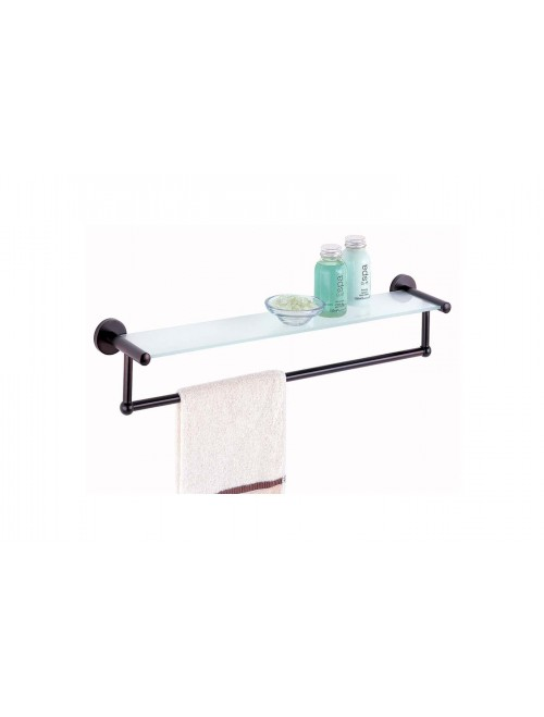 Oil Rubbed Glass Shelf with Towel Bar (16906)