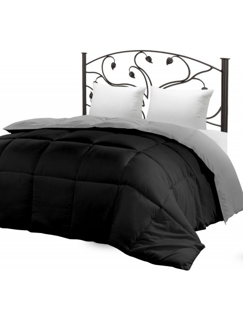 Down Alternative Reversible Comforter (Black/Grey, Twin)