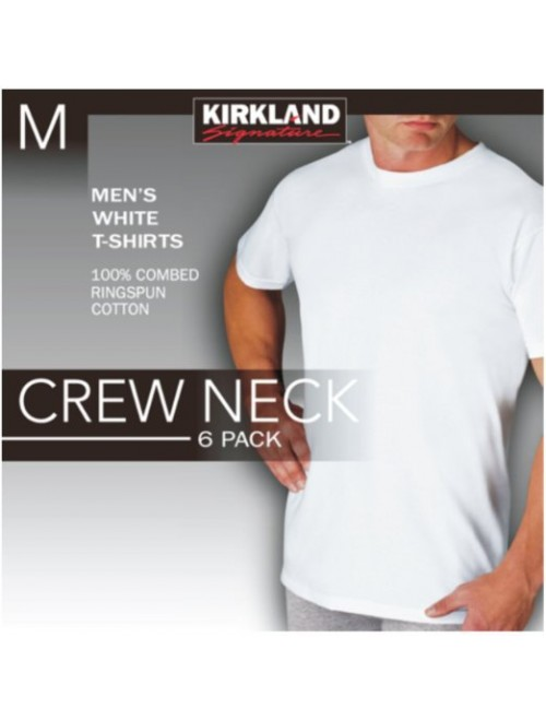 Kirkland Men's Crew Neck White T-shirts 6 Pack (XL)