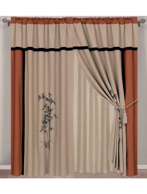 Chezmoi Collection Kariya 4-Piece Embroidery Window Curtain Set