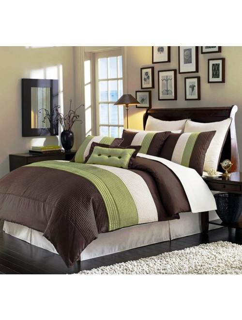 Chezmoi Collection 8-Piece Luxury Stripe Super Soft Comforter Set
