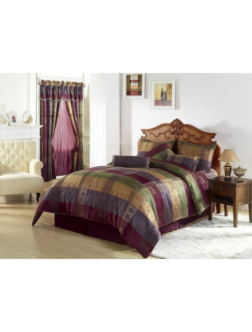 Chezmoi Collection Gitano Jacquard Patchwork 7-Piece Bedding Set