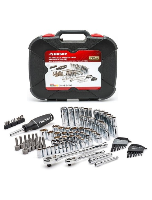 Mechanics Tool Set with Case Organizer Automotive (Husky 111-Piece) Box