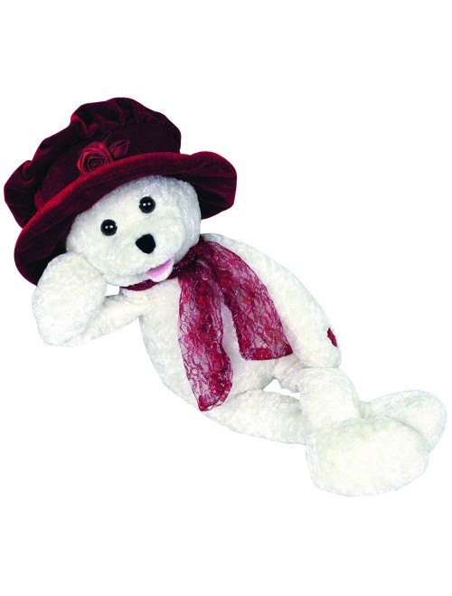 Chantilly Lane White Bear with Burgundy Hat Sings