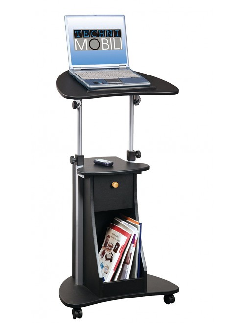 Techni Mobili Deluxe Rolling Laptop Cart with Storage