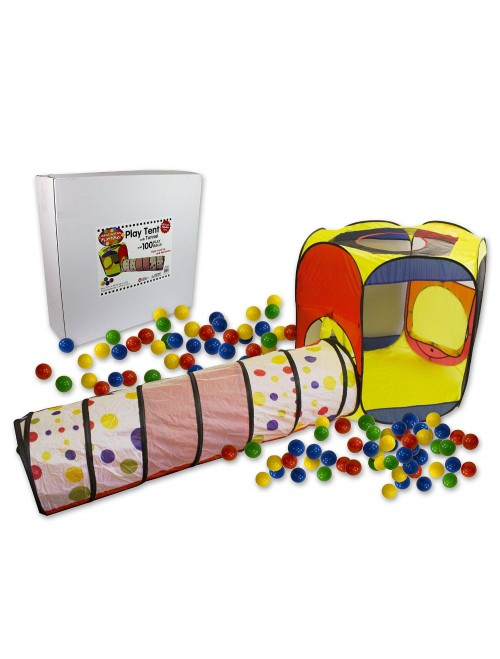 Play Tent with 100 Balls and Tunnel- Indoor and Outdoor