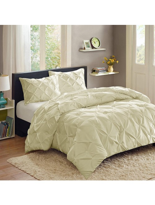Sweet Home Collection 3 Piece Duvet Set, King, Cream