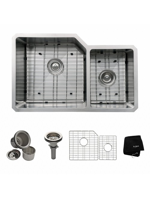 Kraus 32 inch Undermount 60/40 Double Bowl 16 gauge Stainless Steel Kitchen Sink