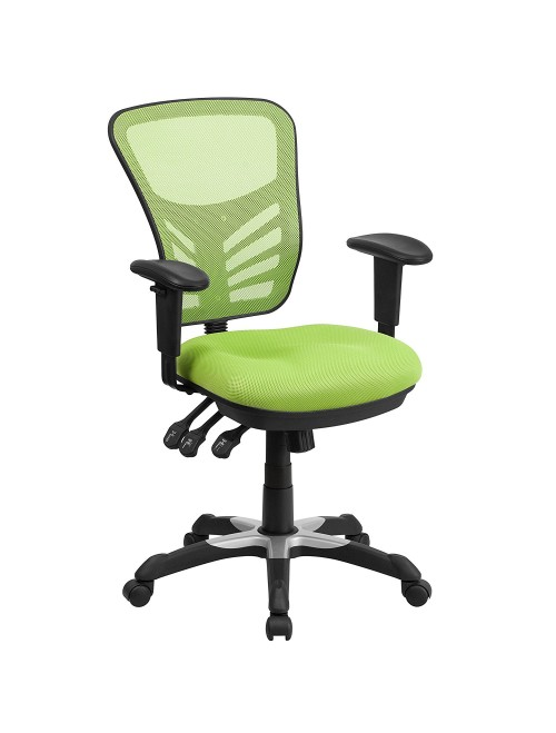 Mid-Back Green Mesh Swivel Task Chair
