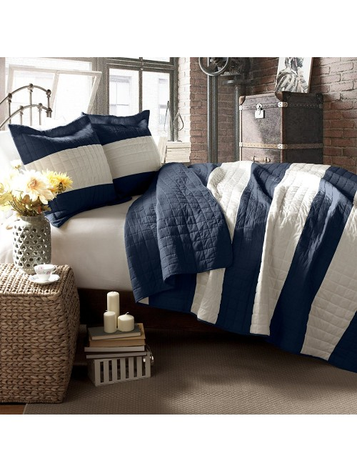 Lush Decor 3 Piece Berlin Stripe Quilt Set, King, Navy