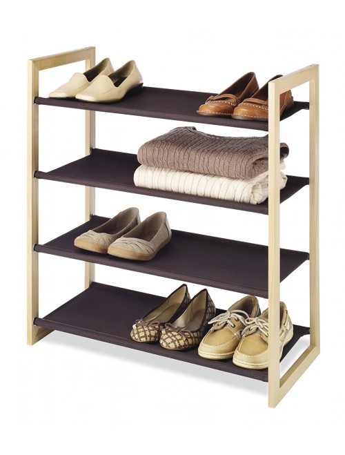 Whitmor 4 Tier Wood and Fabric Shelves, Espresso