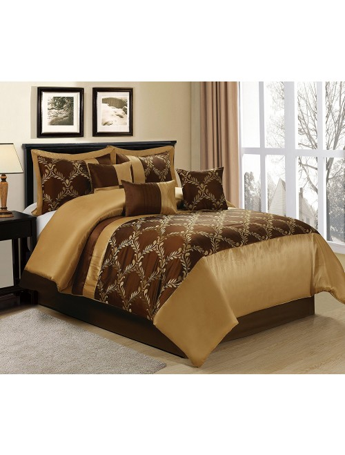 7 Piece Claremont Medallion Brown/Gold Comforter Set