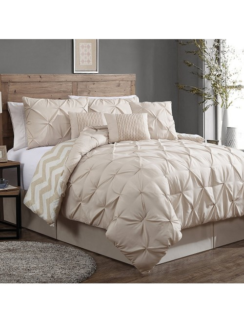 Geneva Home Fashion 7-Piece Ella Pinch Pleat Comforter Set