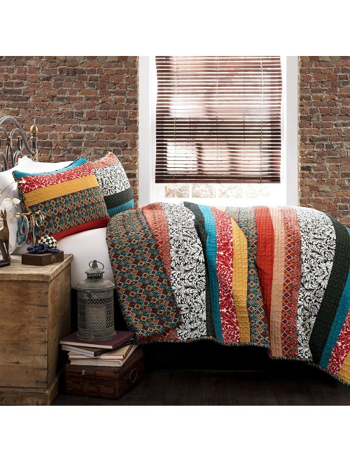 Lush Decor Boho Stripe 3-Piece Quilt Set, King