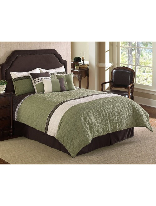 Hallmart Collectibles 7-Piece Frontera Quilted Comforter Set