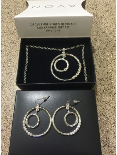 Avon Circle Embellished Necklace and Earring