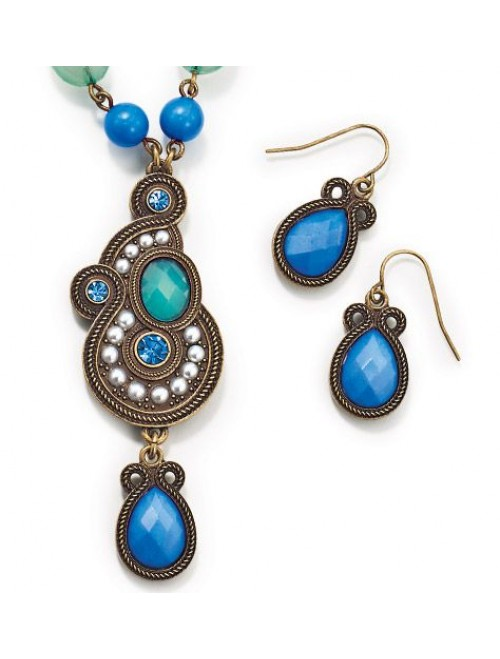 Avon Tribal style necklaceand earring gift set