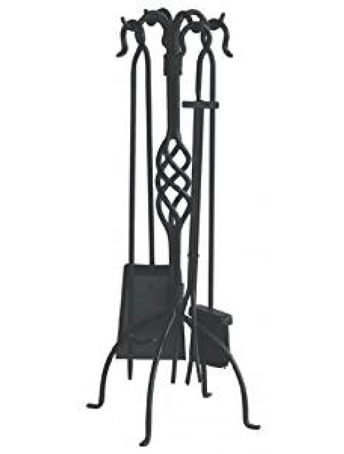 Uniflame, F-1053, 5pc Black Wrought Iron Fireset