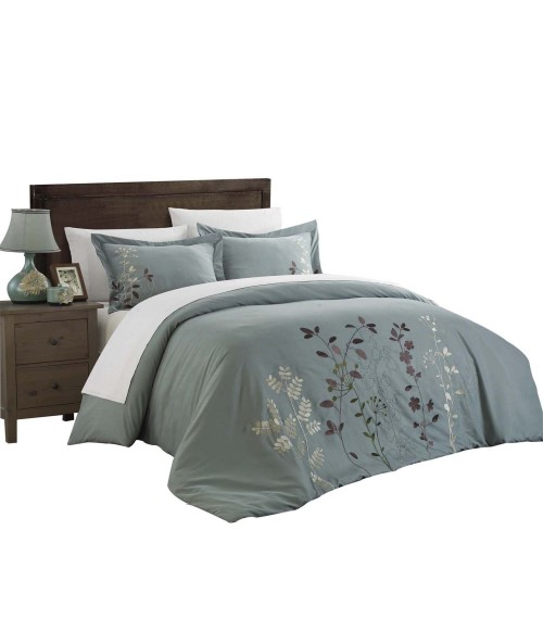 Kathy Kaylee Floral Embroidered 3 Piece Duvet Cover Set