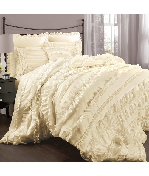 Lush Decor Belle 4-Piece Comforter Set, King, Ivory